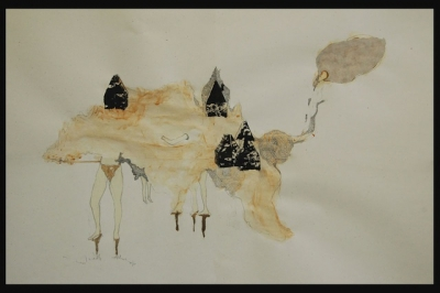 tape, ink, gold leaf on paper